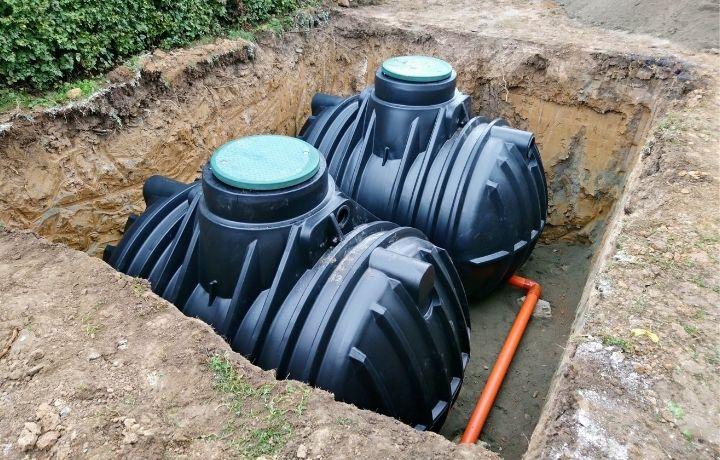 esővízgyűjtő tartály földbe ásva